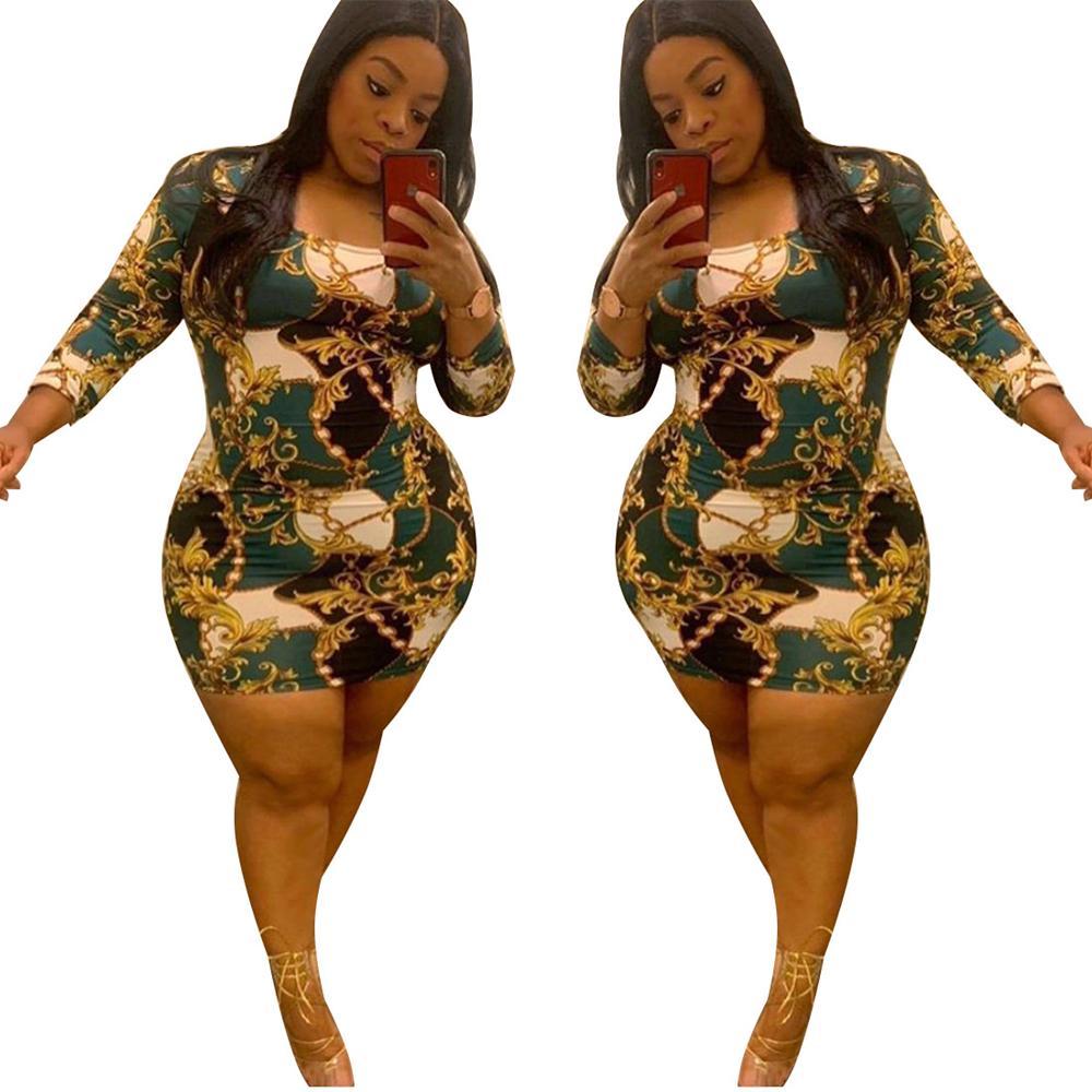 Imprimir vestido de manga comprida Plus size verão mulheres cintura alta mini saia em volta do pescoço magro vestidos elásticos skinny vestidos vintage