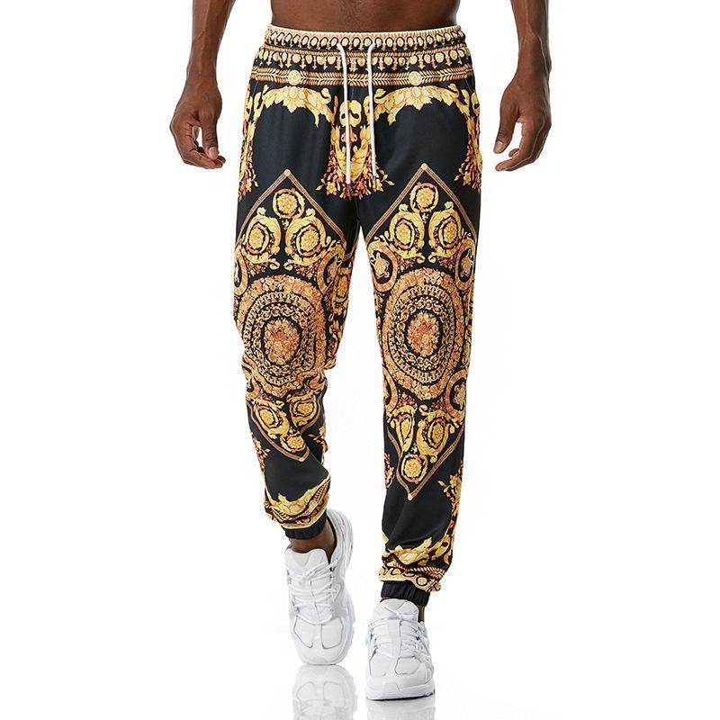 Роскошные королевские мужчины Joggers Floorfant 3D цветочные печатные брюки бега трусочки мужские повседневные хип-хоп уличные спортивные брюки мужские XXL