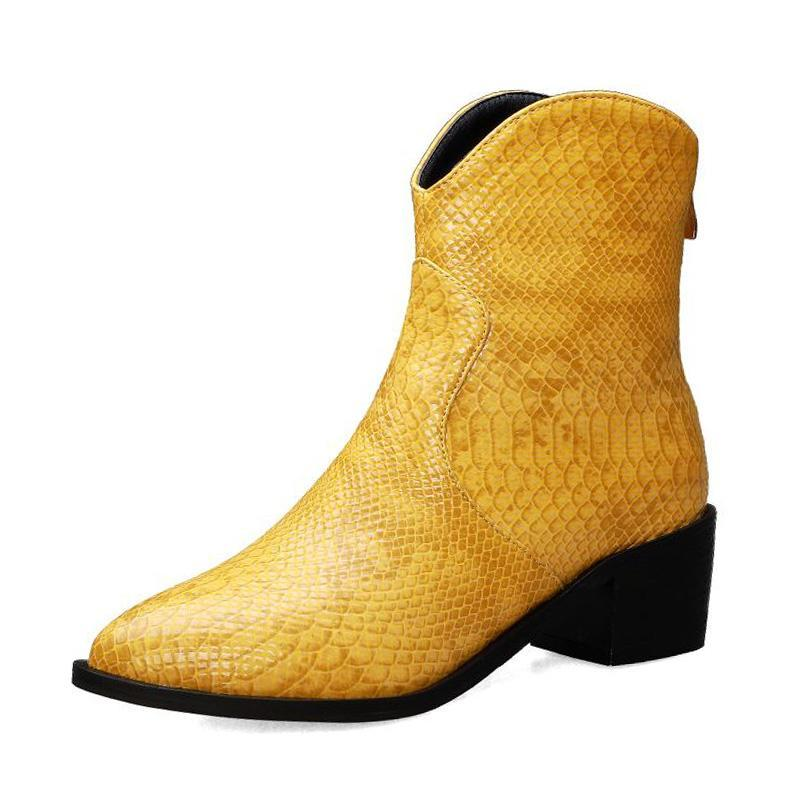 Bottes Fanyuan Sexy Toe pointu de la cheville pour femme Zipper Square Heels Chaussures Automne Hiver Femmes Chaussures Chaussures Taille 32-43