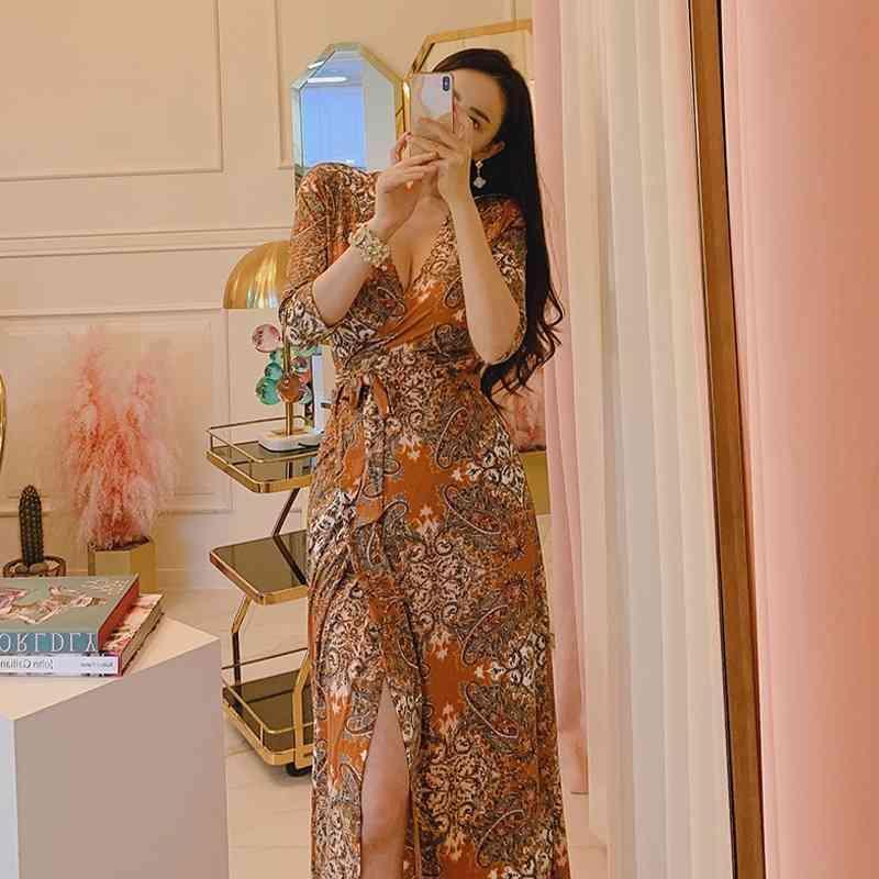 Kleid Herbst Produkt Damen gedruckt V-Ausschnitt Slit Mode Slim Wrap Office Dame Polyester Reißverschlüsse Knielänge 210603