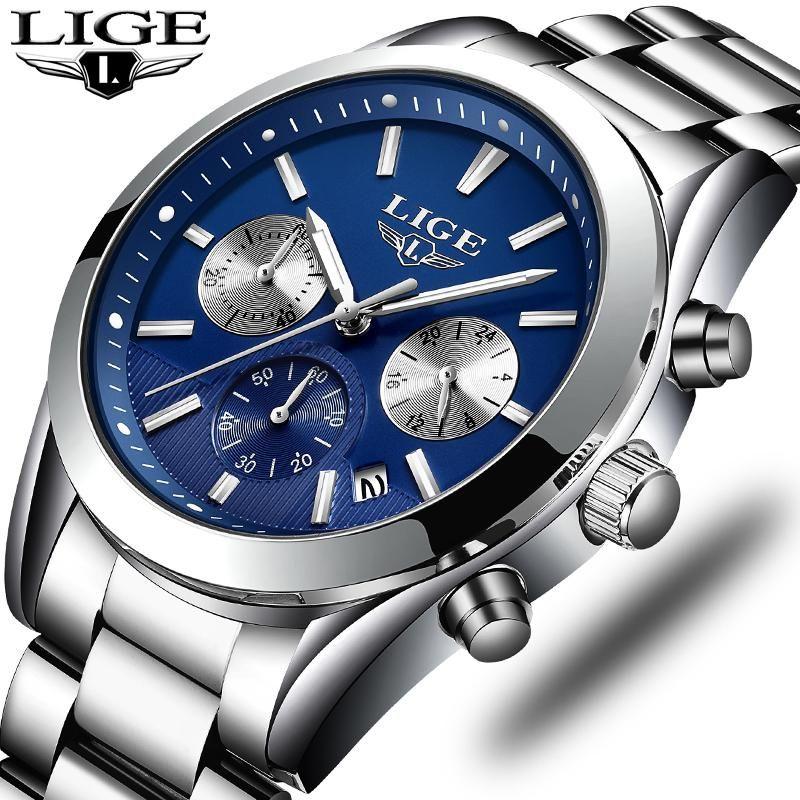 Armbanduhren 2021 Lige Uhr Herren militärische wasserdichte Top Marke Uhren Edelstahl Quarz Clock Man voller Handgelenk Relogio