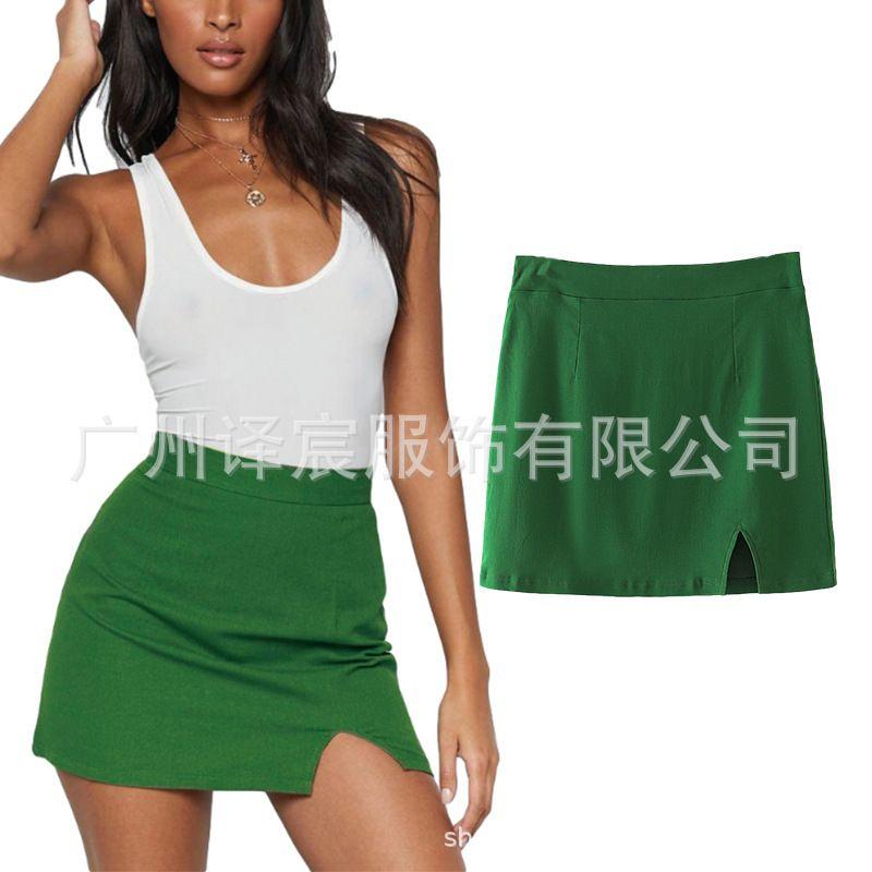 Женские летние новые чистые зеленые A-Line Сексуальная мини-оберт для ягодицы 9138