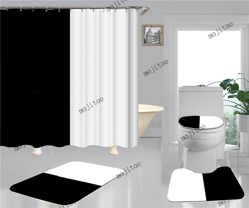 뜨거운 판매 홈 샤워 커튼 방수 비 슬립 목욕 화장실 매트 패션 인쇄 욕실 액세서리 4pcs 정장
