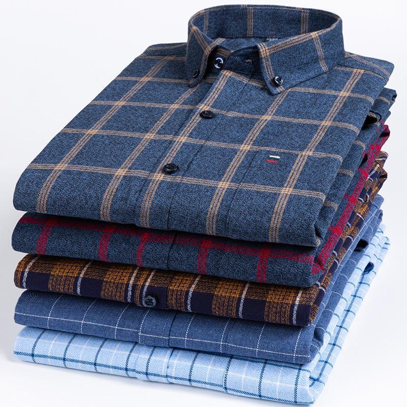 Männer Casual Hemden 100% Baumwolle Plaid für Herren Mode Kleidung Trends Normal Fit Übergroßes S-7XL Langarm-Abzugskragen