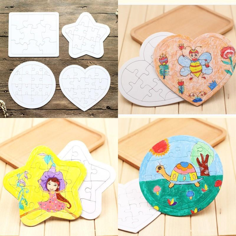 Sublimation Blank Picture Puzzle DIY Colouring Jigsaws Child Square Five Pointed Star Painting Toys White Gift Paper GWB5098