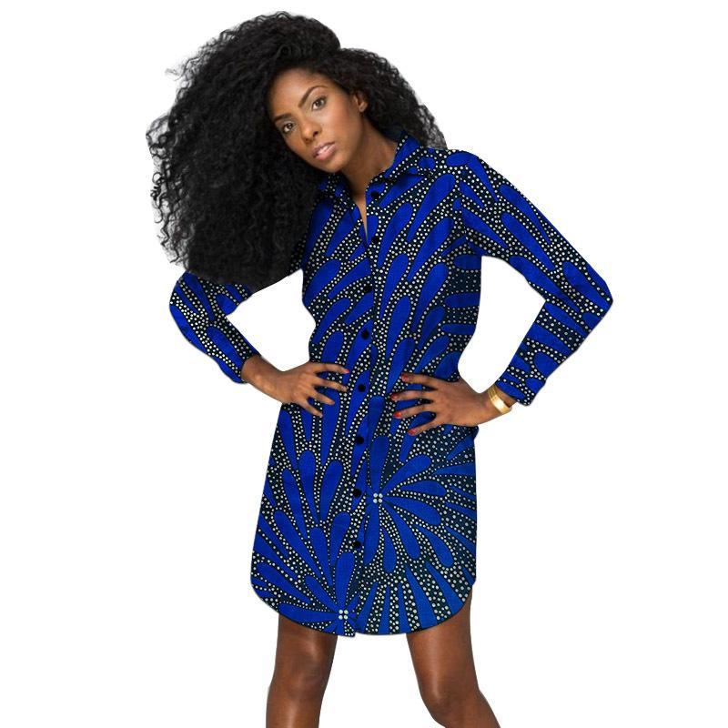 Modello di progettazione unica Camicie lunghe da donna Custom African Moda Print Ankara Outfit Casuals Casual's Dashiki Tops