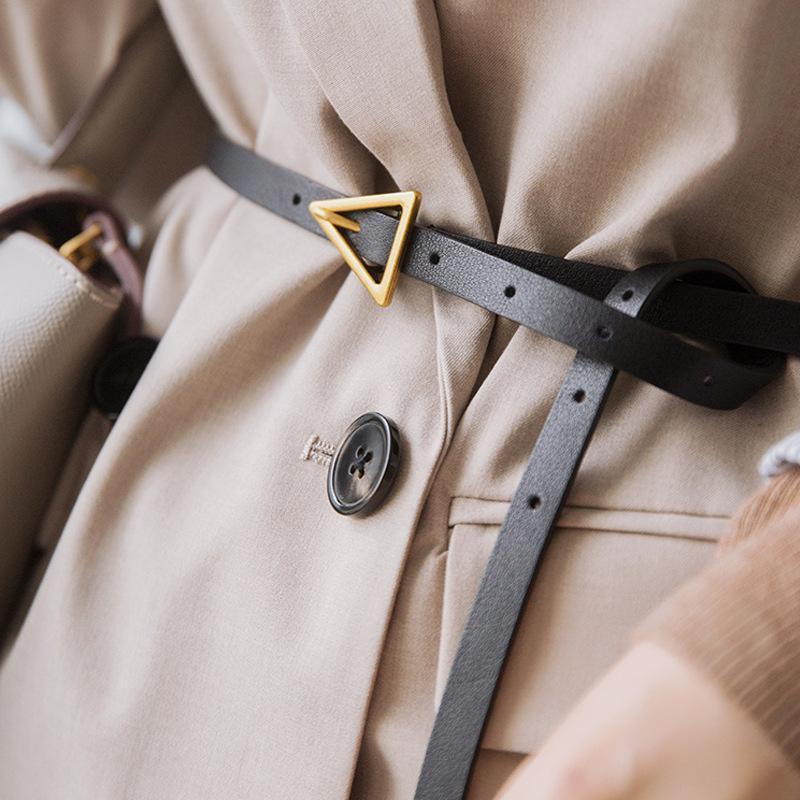 5 색 여성 벨트 패션 PU 가죽 빈티지 얇은 벨트 숙녀 청바지 드레스를위한 황금 삼각형 버클 허리띠