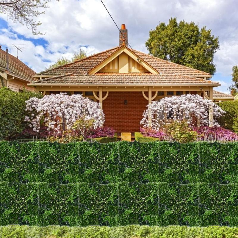 Fencing, Trellis & Gates 50x50CM Artificial Green Leaf Panels Hedge Privacy Protection Screen Garden Plant Fence Balcony Wall Backdrop Decor