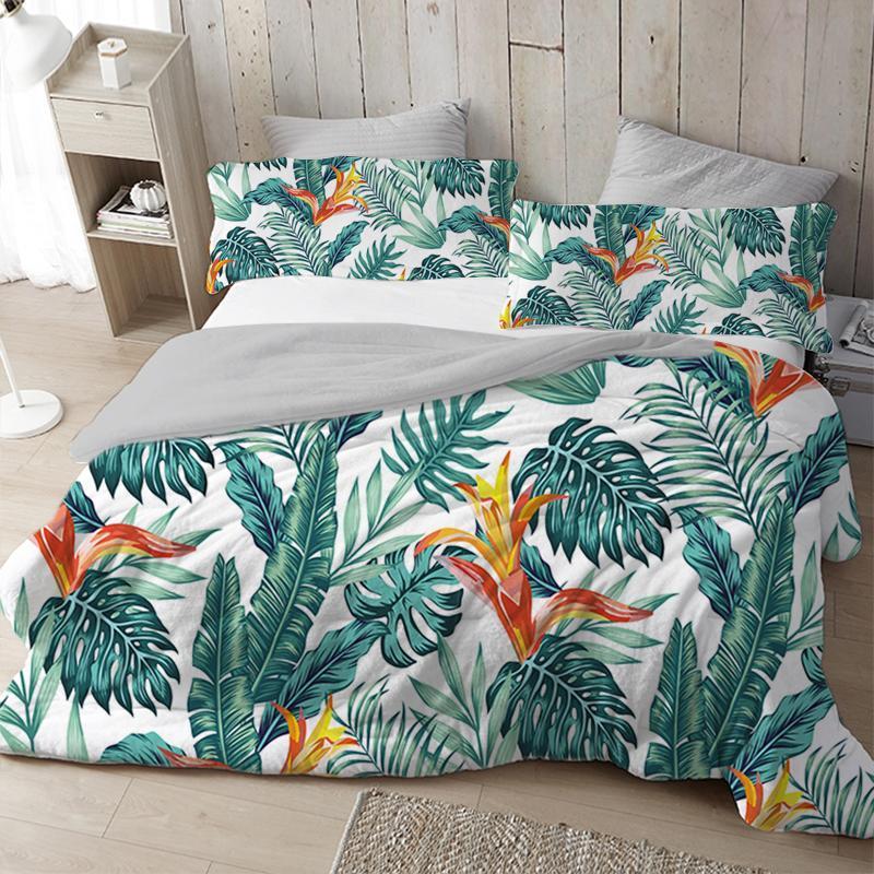 Bettwäsche-Sets Luxus Nordic Duvet Cover Set Tropical Blätter King Queen Full Twin Size Bett 2/3 stücke 220x240 200x200