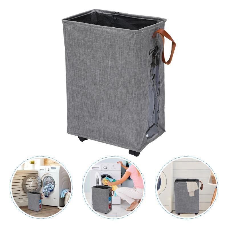 1 stück Wäschekorb mit Rädern und Griff zusammenklappbare faltbare tragbare Tasche Lagerbehälter Wäsche-Hamper-Organizer für schmutziges Tuch