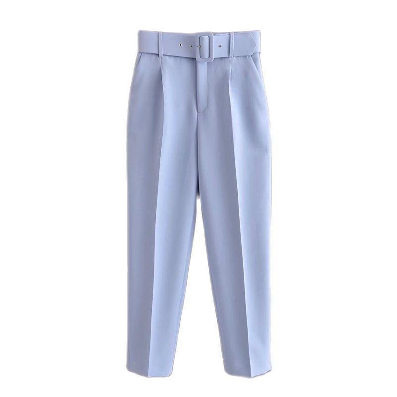Calças femininas Capris Tangada 2021 Azul Terno Mulher Cintura Alta Sashes Bolsos Escritório Senhoras Trabalho Elegante 6A22