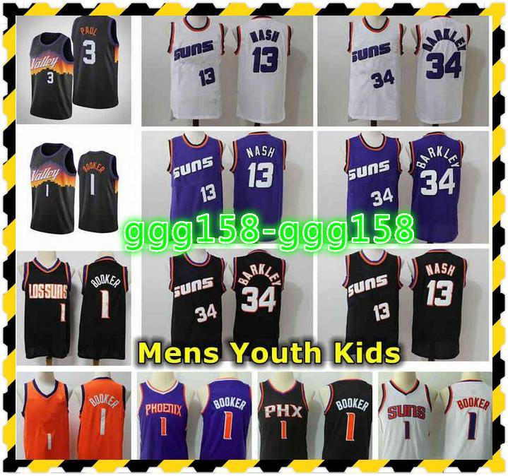 2021 Erkek Gençlik Çocuklar Chris 3 Paul Devin 1 Booker Swingman Jersey Dikişli 13 Steve Nash 34 Charles Barkley Retro Klasik Basketbol Formaları