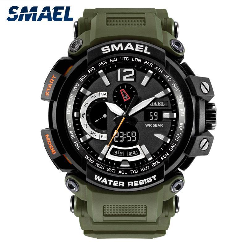 SMAEL relógios de pulso moda impermeável exibição dupla homens multifuncionais LED eletrônico relógio 1702-6
