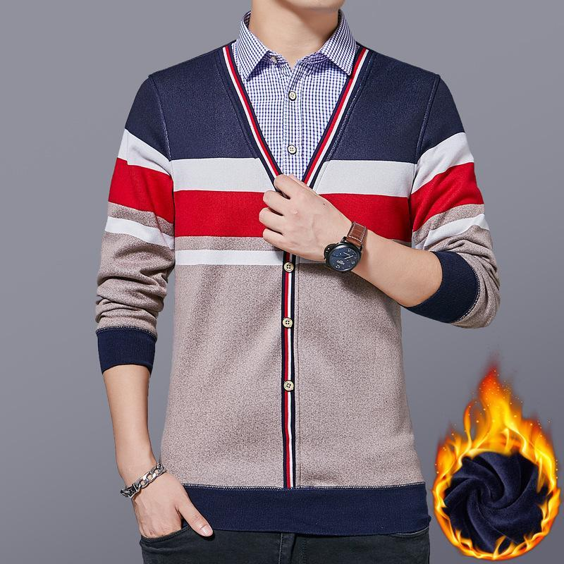 Sujetadores de los hombres Ropa 2021 Hombres Otoño Invierno Manga larga Jersey Marca casual Sweater Sweat Suéteres Espesado Camisa Cuello Knit Girbre