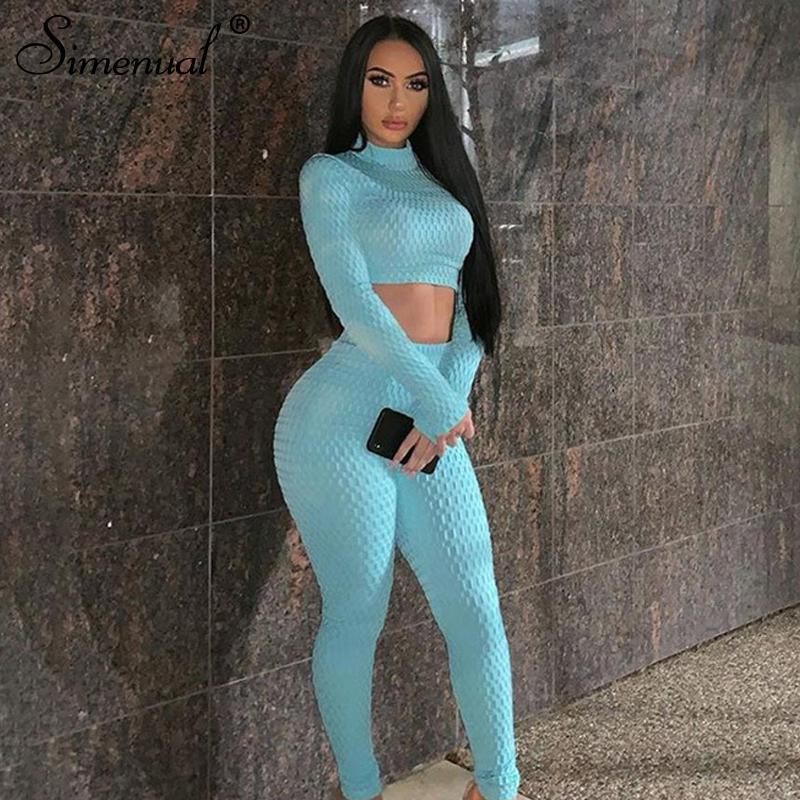 Simenual Fitness Sportswear Push Up Two Piece Sets Frauen Mode Lässige Workout Skinny Trainingsanzüge Langarm Top Und Hosen Set Y200110