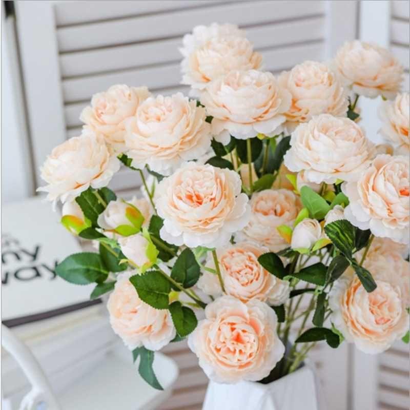 اكاليل الزهور الزخرفية مصنع الجملة النمط الأوروبي 3 الفاوانيا الاصطناعي المنزل الزفاف اكسسوارات الديكور وهمية