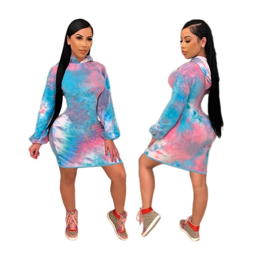 Plus Size Frauen Pullover Kleider Krawatten-Färbung Pullover Hoody Röcke Langarmkleid Bodycon Minirock Spielanzug Fall Winterkleidung 3XL 2XL