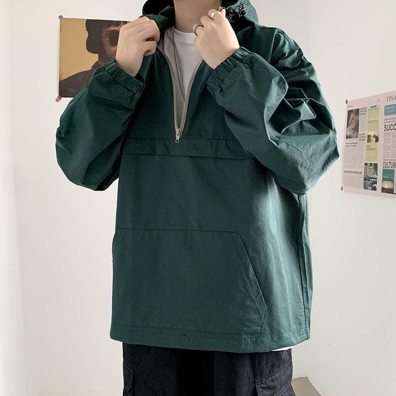 2021 Новая осень мужская мода сплошной цвет повседневная куртки с капюшоном мужская уличная одежда дикий свободный хип-хоп бомбардировщик куртка мужчины M-2XL BL0Q