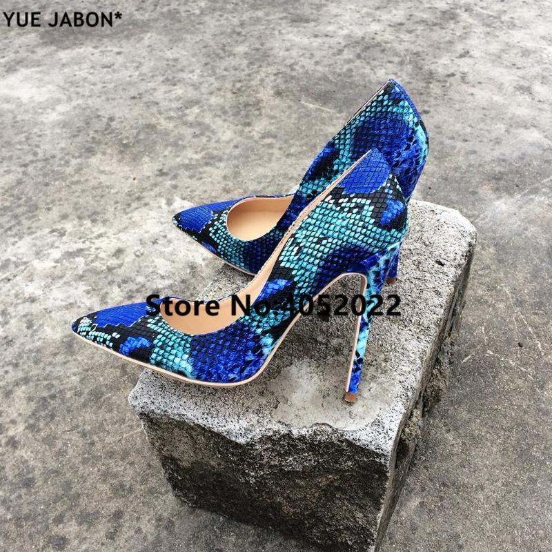 Kleidschuhe Yue Jabon 2021 Mode Frauen Schlange gedruckt Frau Sexy Stilettos High Heels 8/10 / 12cm Spitzzehe Pumpen 3 Farbe
