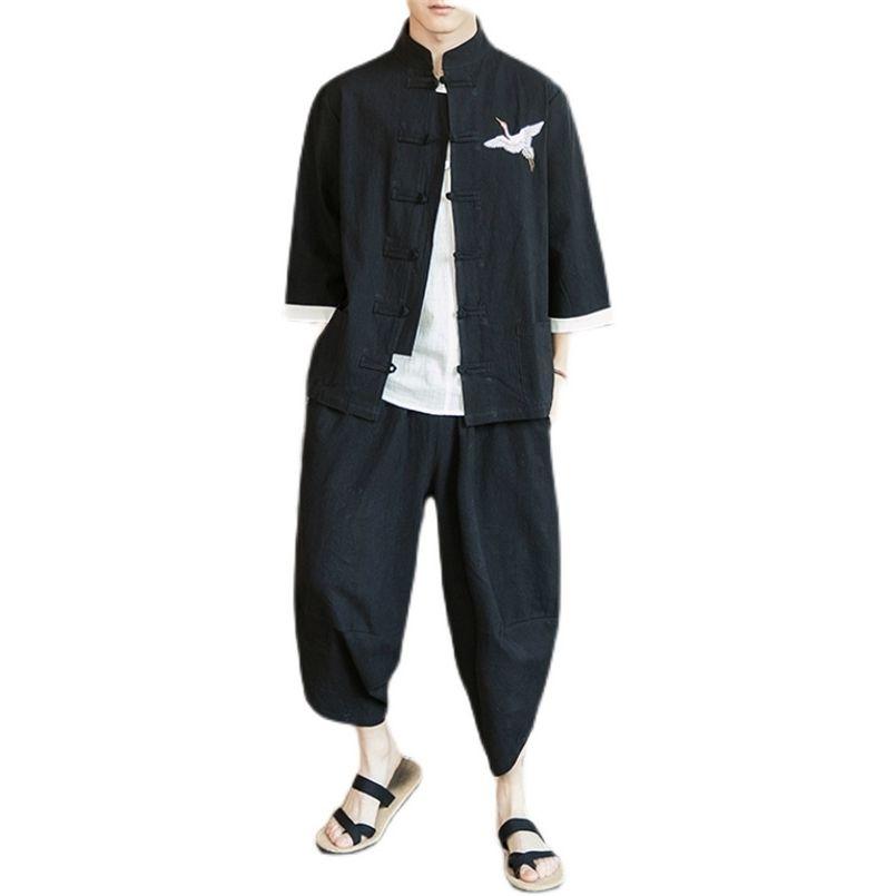 Plus Größe M-5XL Baumwolle Leinen Schwarz Stickerei Hanfu Sets Kung Fu Chinesische Stilanzug Männer Traditionelle Tang Tops + Hosen Kleidung 210603
