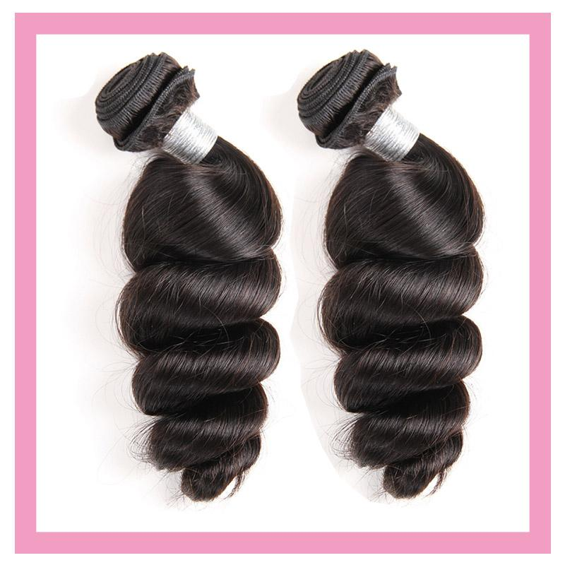 Peruvian Loose Wave 2 Bundles 100% Human Hair Extensions Double Wefts Natural Color 95-100g/piece