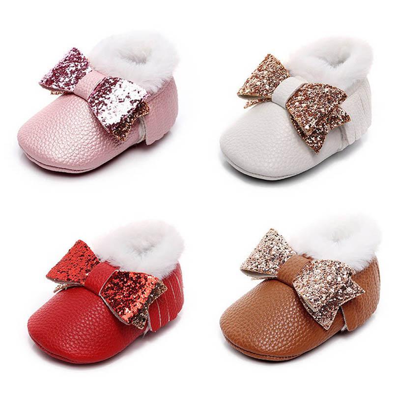 أحذية الوليد أحذية الأطفال الشتاء الترتر الانحناء طفل الفتيات أحذية الأميرة الشرابة الأخفاف الناعمة أولا المشي الأحذية 0-1T B4095