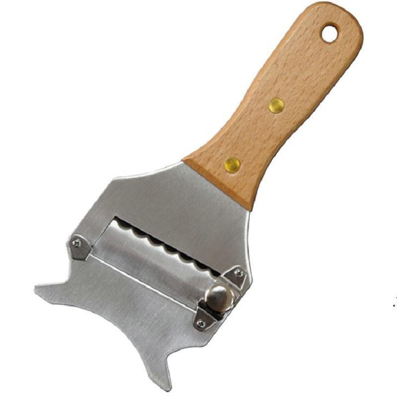Taglierina del tartufo in acciaio inox pianeta del cioccolato pianeta forchetta pianeggiante a forma di forchetta piantatore a forma di dente manico in legno impugnatura cucina vendita DWF5290
