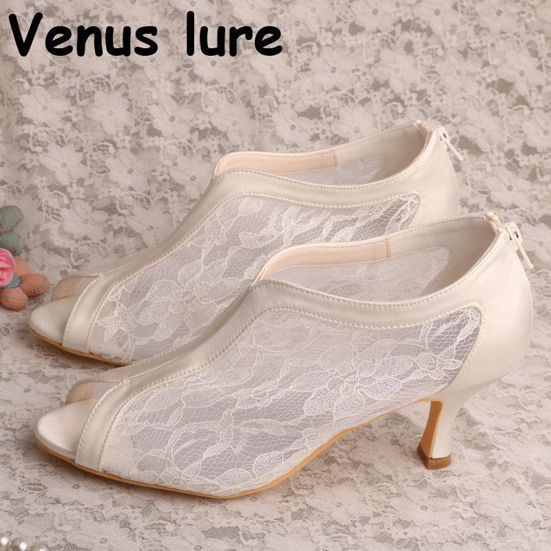 Dentelle à la main Ivoire Peep Toe Pointe à mi-haleine Chaussures de dentelle blanche pour la fermeture à glissière de mariage