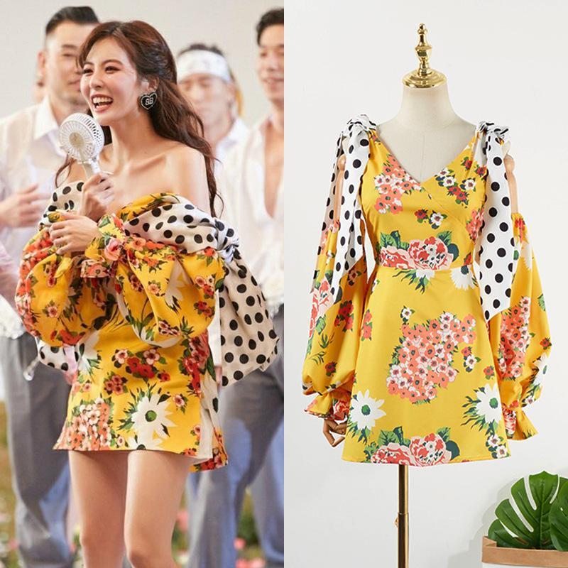 فساتين عادية KPOP 4minute كيم هيون المرأة الصيف الأصفر مثير مصغرة طويلة الأكمام فستان سيدة الكورية الأزياء فضفاضة عالية الخصر الخامس الرقبة