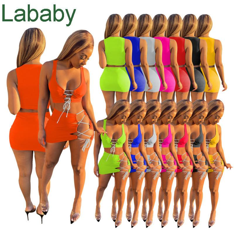 Sexy Women 2 Piece Dress Set Spring Summer Sexy Beach Clothing New Sleeveless Skirt Lace Up Suit 2021