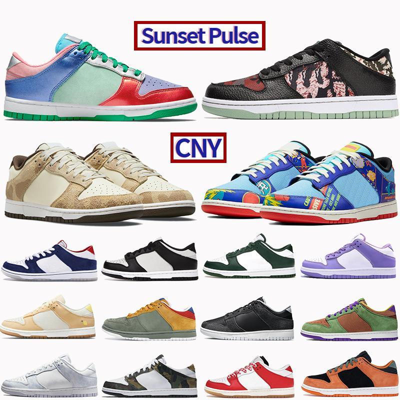 2021 hommes chaussures de baskethah CNY Cheetah Sunset Pulse Pulse Zèbre Citron Noir Gris Bleu Mismatch Blanc Rouge Rose Rose Cérémique Low Mens Baskets Femmes Formatrices