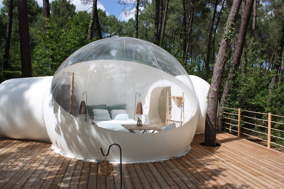 في الهواء الطلق مزدوجة الغرف خيمة مع نفق 4 متر نفخ فقاعة شجرة فندق حر مروحة شفافة فقاعة منزل قبة خيمة