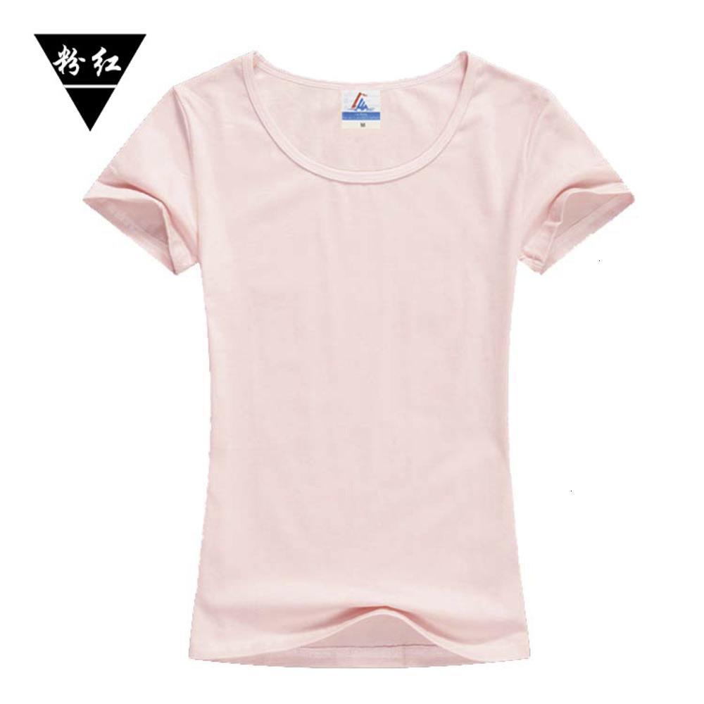 Neue Lycra-Baumwolle 200g 32 Garn Rundhals-Rundhals-Kurzarm-Frauen Slim T-Shirt Persönlichkeit