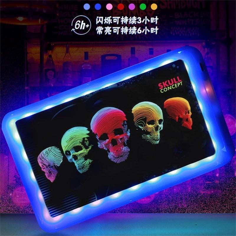 Индивидуальный логотип светодиодный лоток лоток пластиковый поднос для подкладки для хранения табака аккумуляторная курение, обслуживающая плита AHD785 528 R2