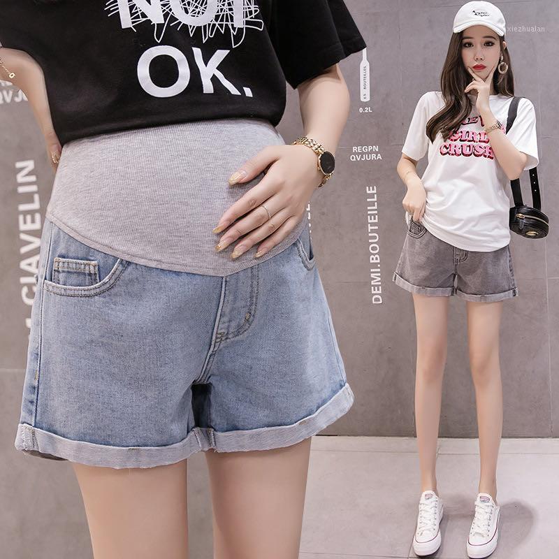 Tiro real 2020 Verano Nuevo Maternidad Pantalones cortos de mezclilla Desgaste casual Levantamiento de estómago Pantalones Humo Gris Ropa para mujeres embarazadas1
