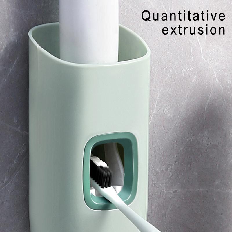 1 ADET Duvara Monte Otomatik Diş Macunu Dağıtıcı Diş Fırçası Tutucu Otomatik Tembel Yapıştır Sıkacağı Banyo Depolama Aracı Y0220