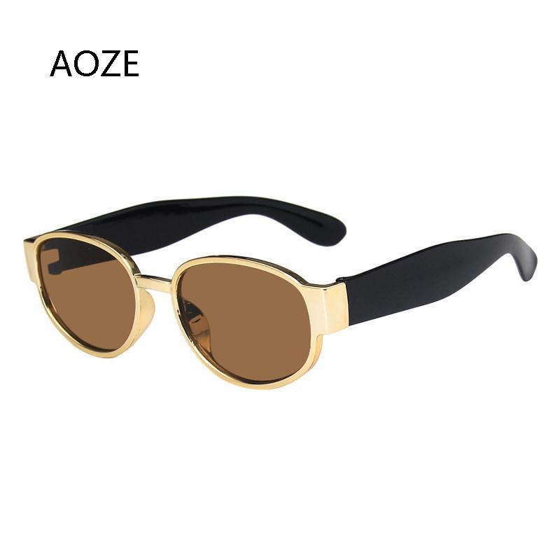 Óculos de Sol 2021 Vintage Aoze Homens Mulheres Retro Metal Quadrado Homens Sun Óculos de Sol Masculino Marca Trendly Shades para UV400