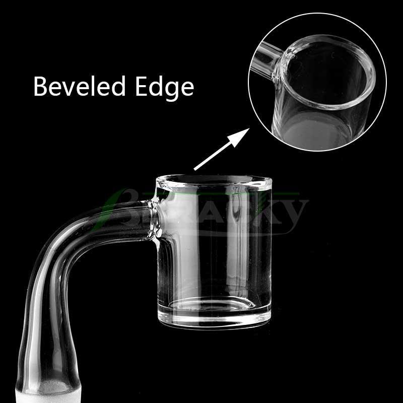 Beracky Beveled Edge Clear Bottom 25mmOD Quartz Banger 10mm 14mm 18mm 45 90 Quartz Bangers Nails For Glass Water Bongs Dab Rigs Pipes