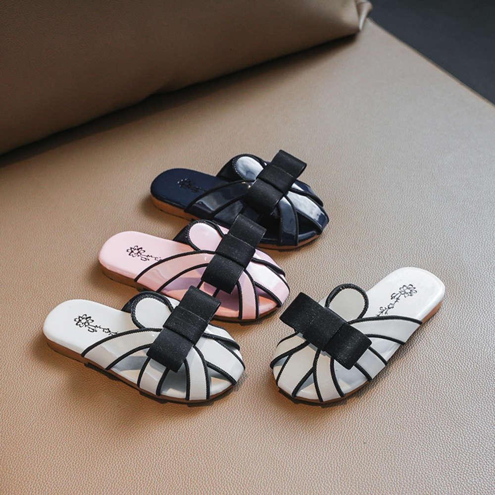 Kızların Baotou 2021 Yaz Yeni Kore Çok Yönlü Ilmek Büyük Çocuk Terlik Moda Açık Sandalet