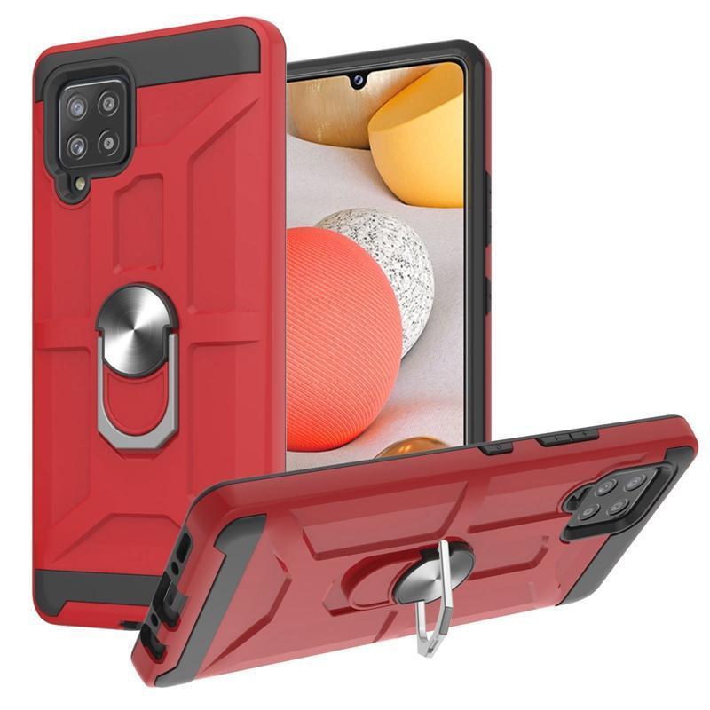 Magnet Car Bracket Holder Shockproof Cases For Samsung S21 FE Ultra A22 A42 A12 A32 A52 A72 A02S A02 A21S Metal Finger Ring Hard PC TPU Defender Hybrid Anti Fall Cover
