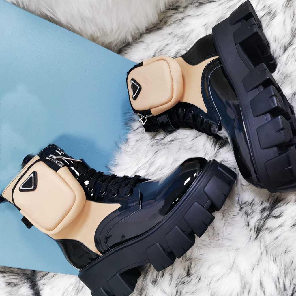 Nuovo Rois Pelle e Monolith Re-Nylon Boot Boot Ankle Martin Boots Military Stivali da combattimento ispirati militari Borsa in nylon attaccata alla caviglia con cinturino