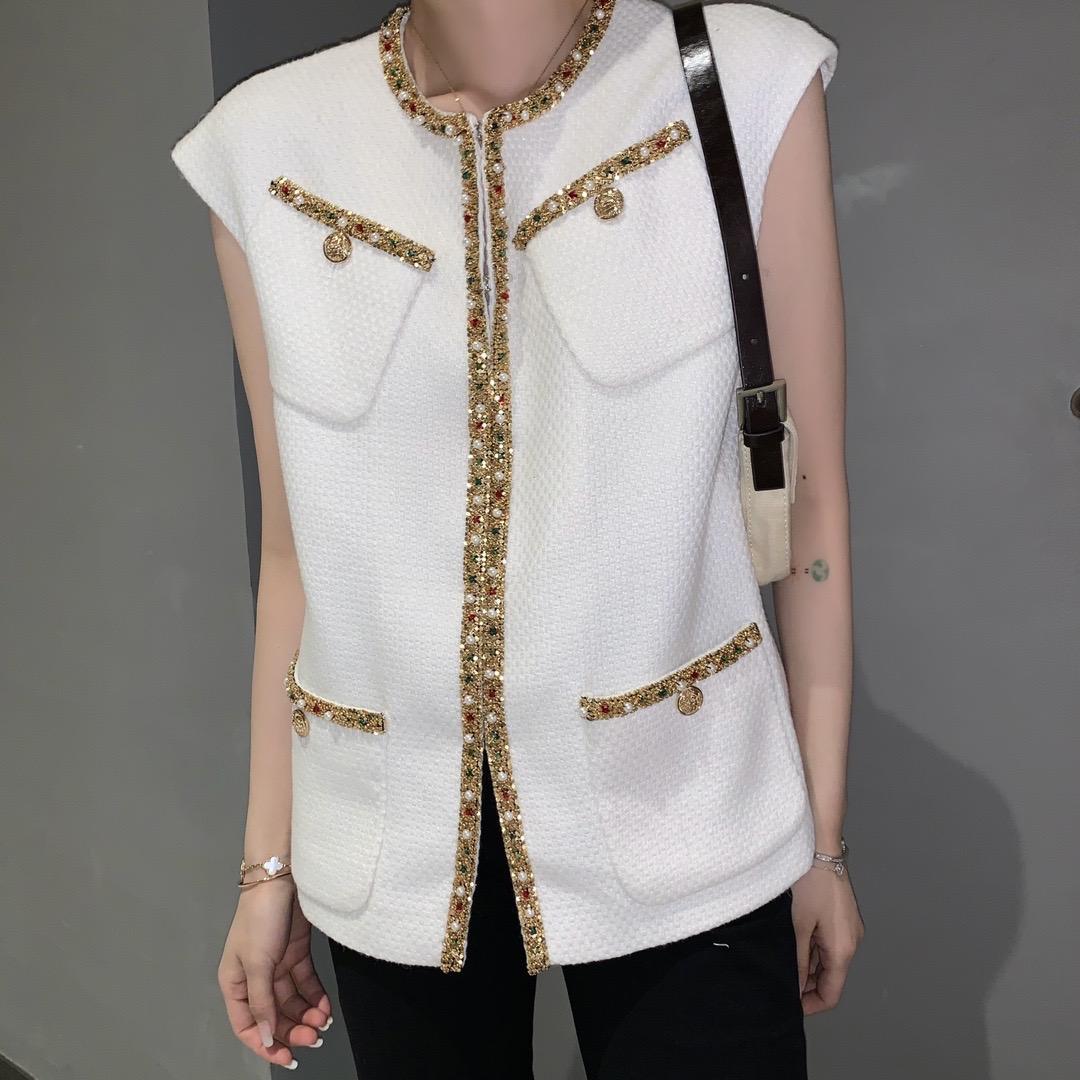 Milano Pist Yelekler 2021 Yeni O Boyun kadın Yelek Yüksek End Jakarlı Kadın Tasarımcı Yelekler 0223-1