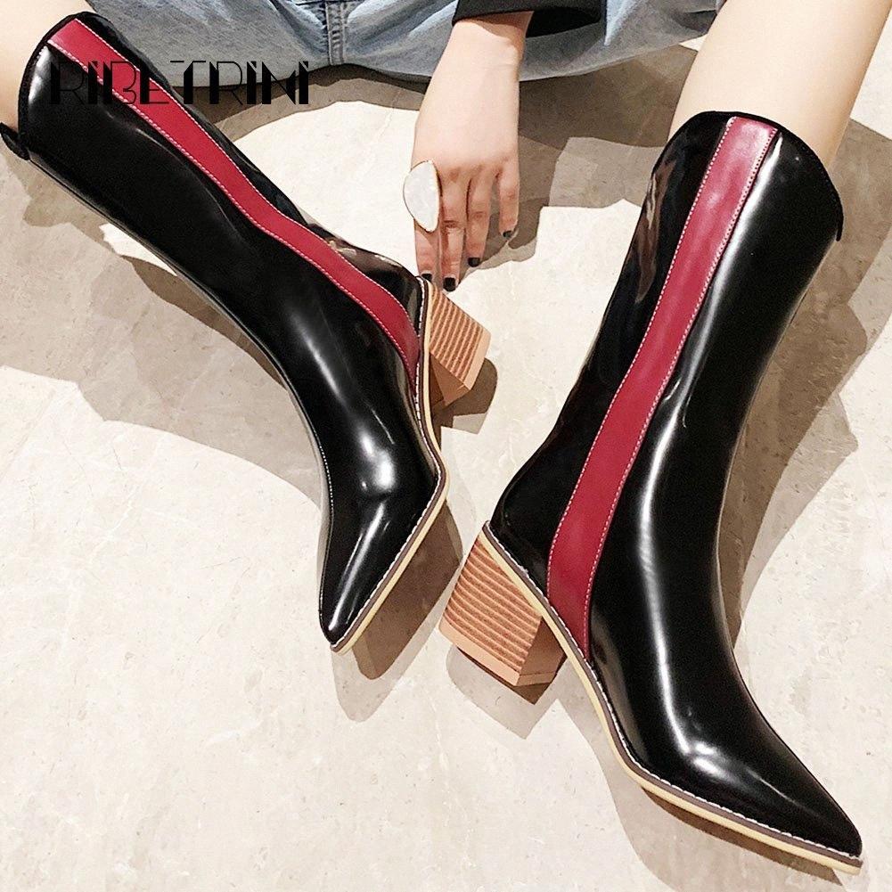 Рибетрини мода женщины патент кожаные ботинки мотоцикл 2019 деревянный каблук заостренные носки обувь женщины микрофибры середины теленка сапоги зимних ботинок p9hr #