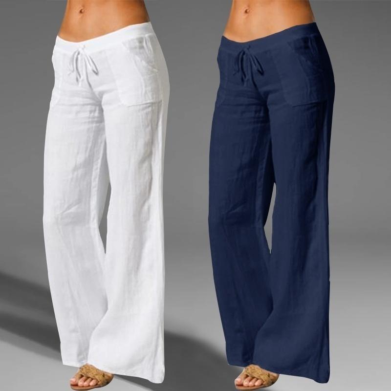 YOGA Kıyafetler Pantolon Kadın Rahat Pamuk Keten Pantolon Yüksek Bel Geniş Bacak Cep Fitness Kadın Siyah Gevşek Pantolon Artı Boyutu
