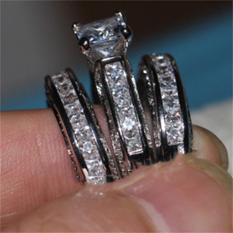 Vecalon Fine Bijoux Fine Princesse Coupe 20ct CZ Diamond Engagement Bague de mariage Ensemble pour femme 14kt Bague de doigt rempli d'or blanc 12 R2