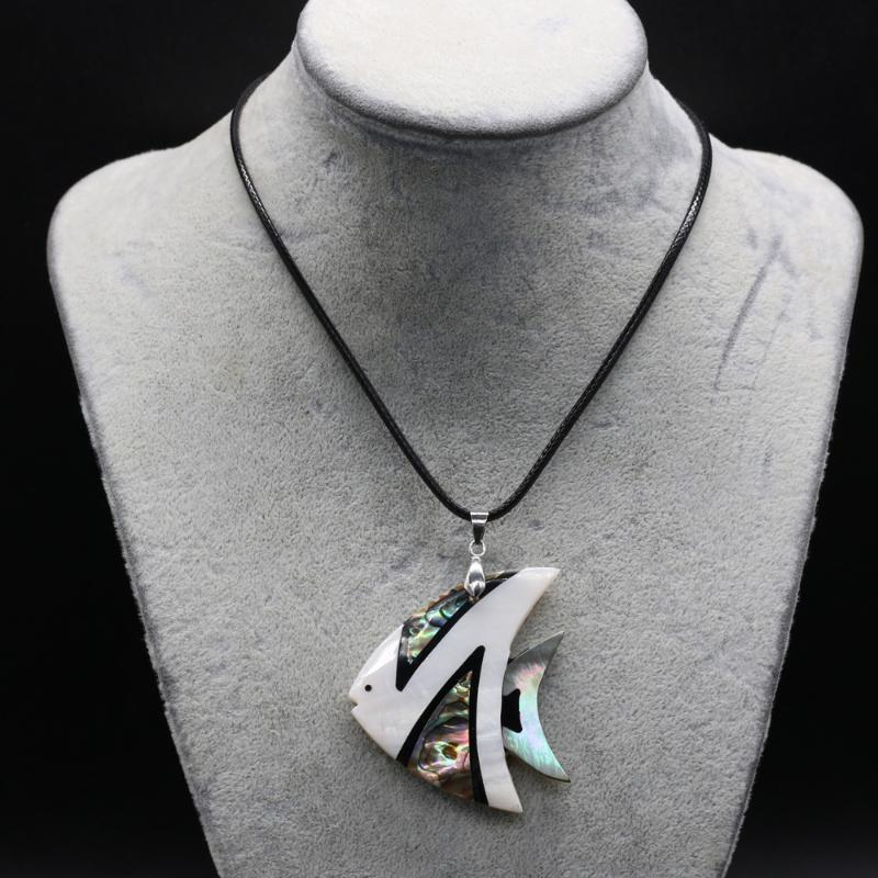 Кулон ожерелья натуральные раковины милые рыбы ожерелье мода ювелирные изделия мать жемчужной кожаной веревки для женщин мужчин подарок