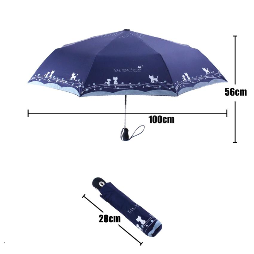 Ve Kedi Çiçekler Kadınlar Rüzgar Geçirmez Ultralight Güneş Yağmur Otomatik Katlanır Şemsiye Lady Şemsiye Parasol P8JJ