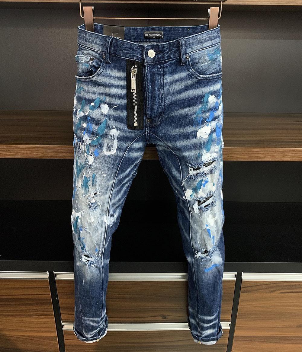Dsquared2 Dsquared Dsq Dsq2 DQ Jeans Mens Luxo Designer Jeans Skinny Rasgado Cool Guy Causal Hole Denim Moda Marca Fit Jeans Homens Lavado Calças 12667 Ear