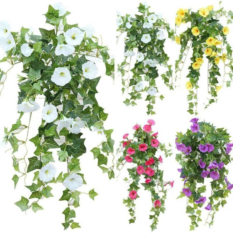 2PCS Fake Flowers Hanging Basket Artificial Fake Silk Morning Glory Flower Vine Indoor Outdoor Flower Home Wedding Decor