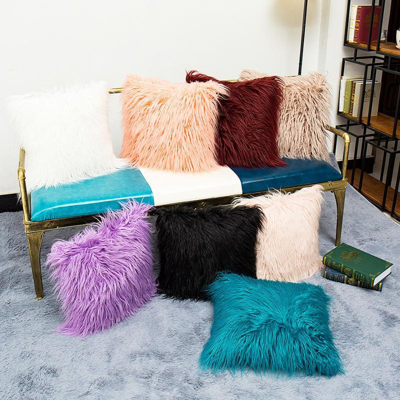 Kissen / dekorative Kissen Weiche Bequeme Flauschige Feste Plüsch Quadrat Sofa Kissenbezug Modern Wurf Fall Auto Wohnkultur liefert 45 * 45 cm